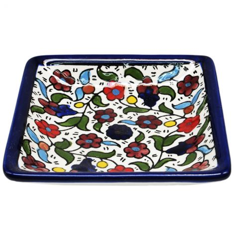 Flowers' Armenian Ceramic Snack Dish from Jerusalem - Colored