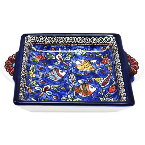 Fishes' Armenian Ceramic Snack Dish with Handles - Blue