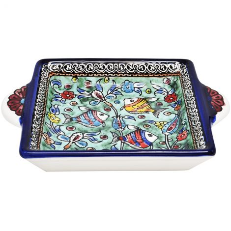 Fishes' Armenian Ceramic Serving Dish with Handles - Light Blue
