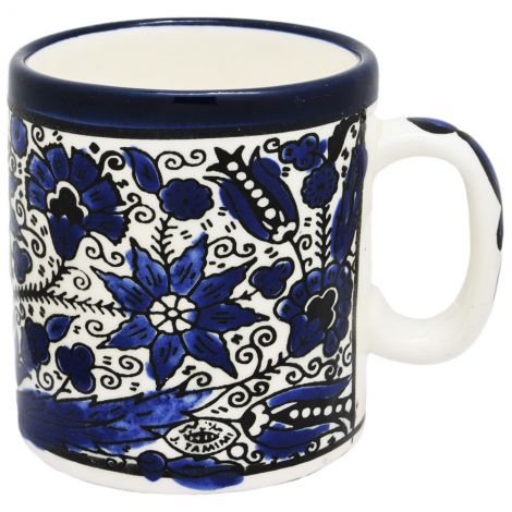 Flowers' Armenian Ceramic Coffee Cup From Jerusalem - Blue (right view)