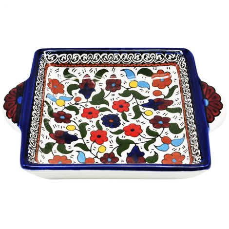 Flowers' Armenian Ceramic Snack Dish with Handles - Blue