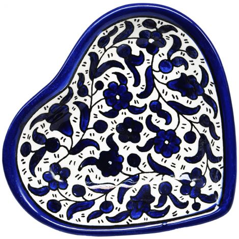 Flowers' Armenian Ceramic Heart Shaped Snack Dish - Blues