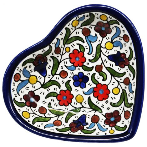Flowers' Armenian Ceramic Heart Shaped Snack Dish - Colored