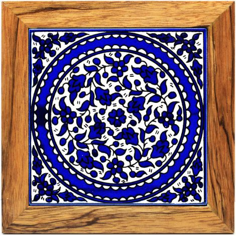 Hotplate - Armenian Ceramic - Wood Frame - Blue Flowers