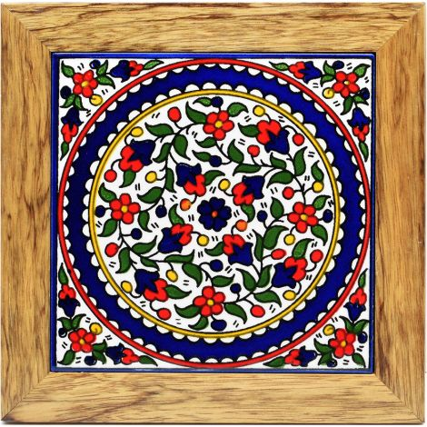 Hotplate - Armenian Ceramic - Wood Frame - Red and Blue Flowers