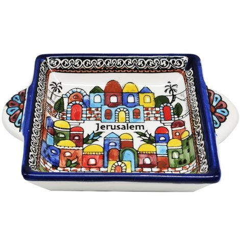 Jerusalem' Old City Armenian Ceramic Snack Dish with Handles