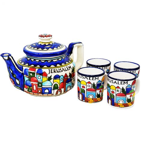 Armenian Ceramic Tea Set 'Jerusalem' Made in the Holy Land