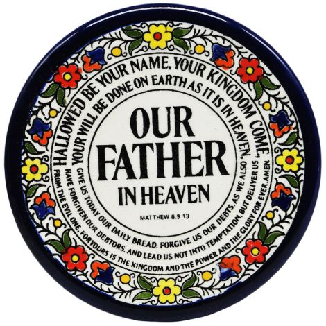 """Scripture """"The Lord's Prayer"""" Hand Painted Armenian Ceramic Saucer"""