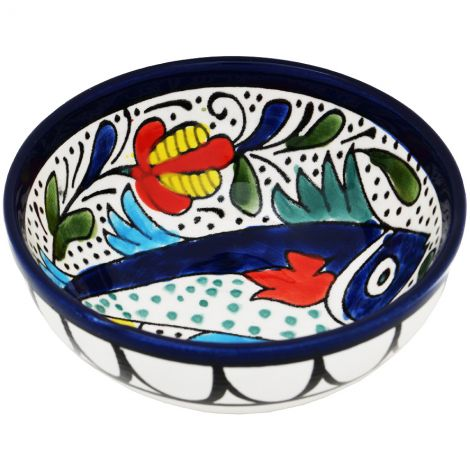 Mini Armenian Ceramic Bowl - Fish - Made in the Holy Land