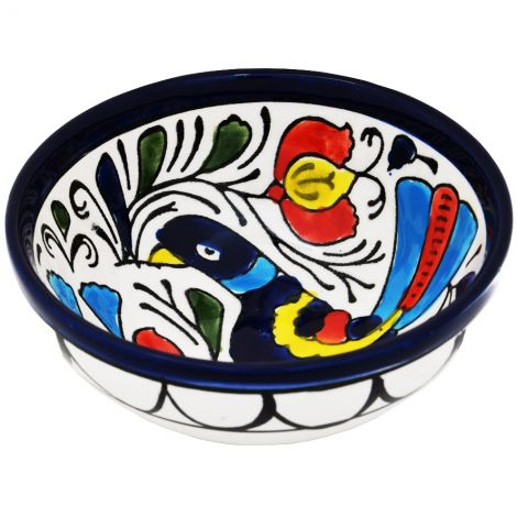 Mini Armenian Ceramic Bowl - Peacock - from Jerusalem