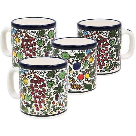 Armenian Ceramic Biblical 'Seven Species' 4 Espresso Cup Set
