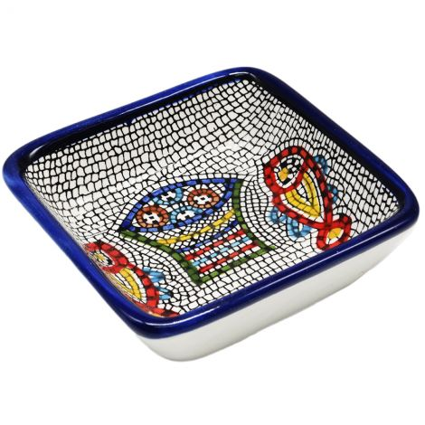 Tabgha' Loaves and Fishes Armenian Ceramic Snack Dish - Square