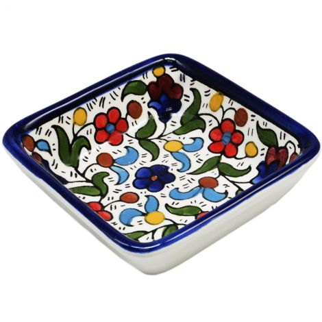 Colorful Flowers' Armenian Ceramic Snack Dish - Square