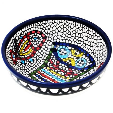 Mini Armenian Ceramic Bowl 'Tabgha' Loaves and Fishes