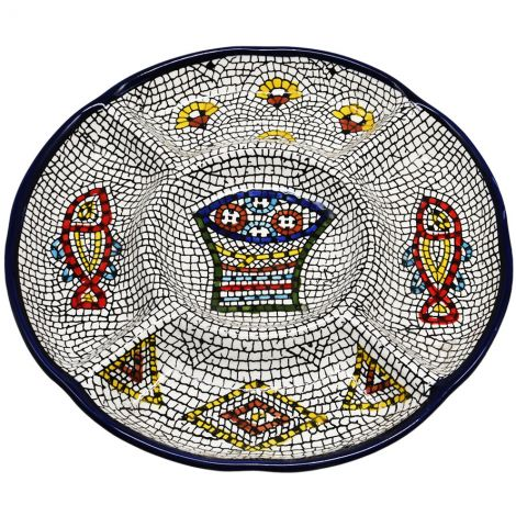 """Armenian Ceramic 'Tabgha - Loaves and Fishes' Serving Plate - 9.5"""""""