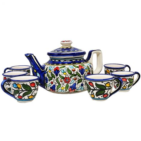 Armenian Ceramic Tea Pot with 6 Cups Set - Colorful Flowers