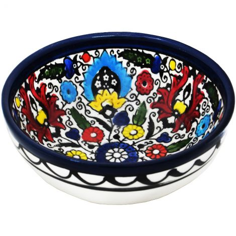 Mini Armenian Ceramic Bowl 'Wild Flowers' Loaves and Fishes