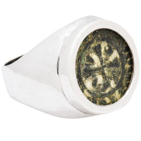 Ancient 'King Levon' Armenian 12th Century Coin in Silver Ring
