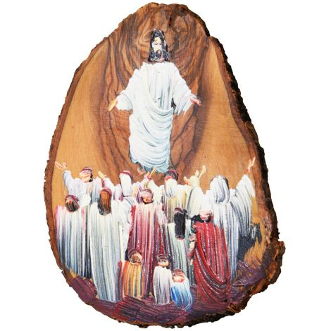 Ascension of Jesus - Oil Painting on Olive Wood Slice from Bethlehem