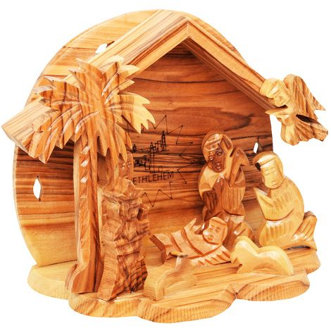 Olive Wood Nativity Creche Tent - Made in Bethlehem
