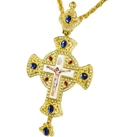 Orthodox Pectoral Cross - Gold Plated Zircon and Jeweled Necklace with Crown