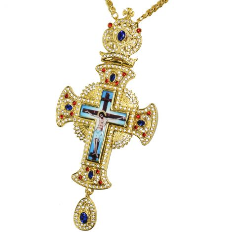 Bishop's Pectoral Cross with Blue and Red Jewels