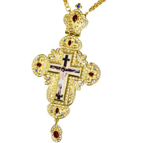 Bishop's Pectoral Crown Cross with Ruby Red Jewels