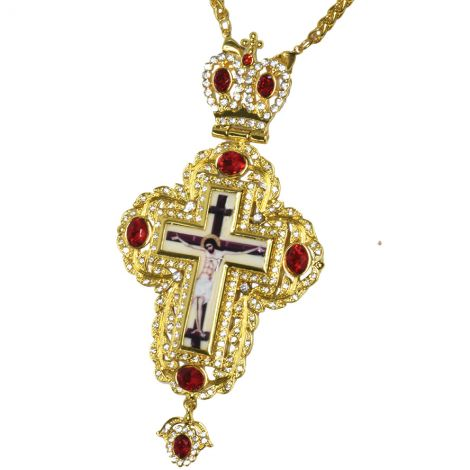 Orthodox Bishop's Pectoral Cross with Ruby Red Jewels