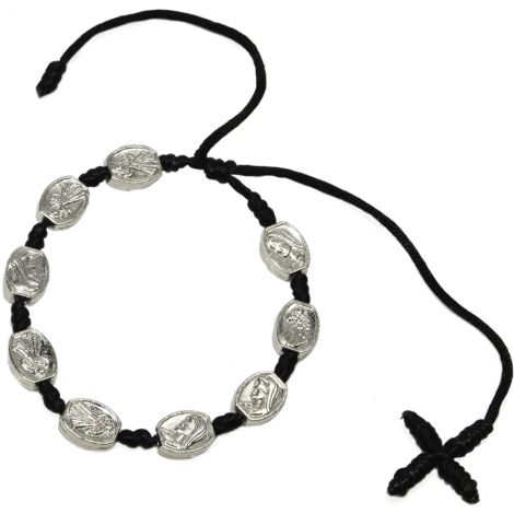 Black Cotton Bracelet with Metal 'Mary' Beads and Cross