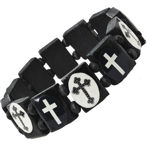 Wooden Cross Bracelet - Black and White - Made in the Holy Land