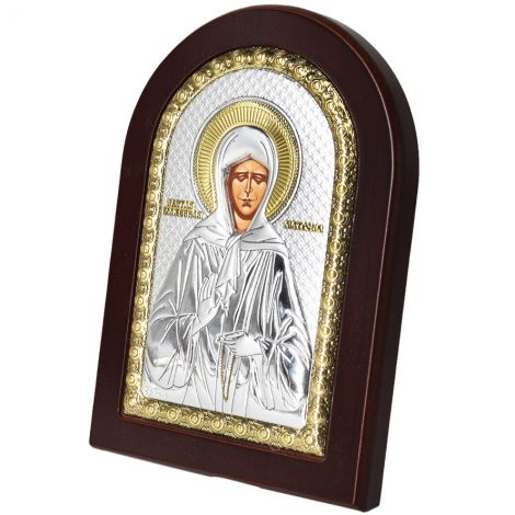 The Blessed Virgin Mary' Icon - Silver Plated with Wood
