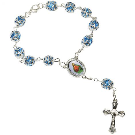 Blue Crystal Rosary Bead Bracelet with a 'Jesus and Mary' Icon