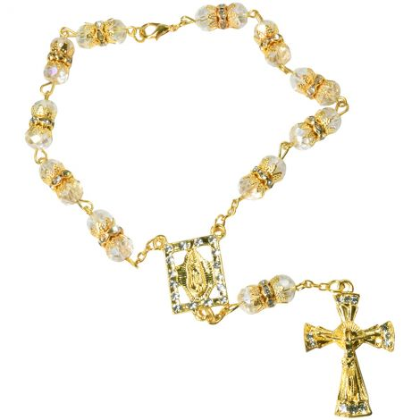 Rosary Bead Bracelet with the Virgin Mary and Crucifix