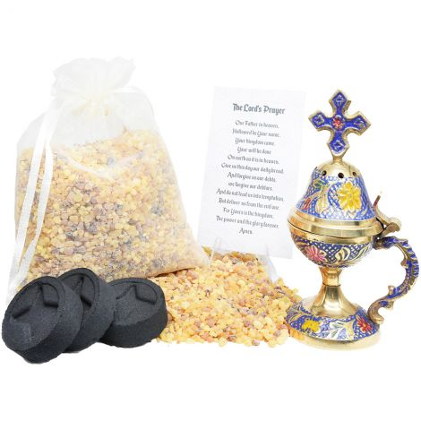 Incense Burner with Cross, 200 gram Frankincense and Charcoal Kit