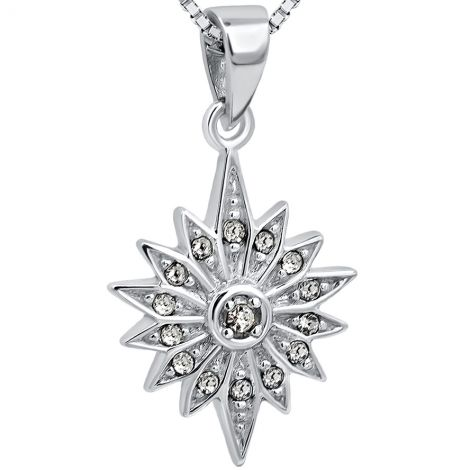Star of Bethlehem' with Zircon Sterling Silver Pendant - 2 cm