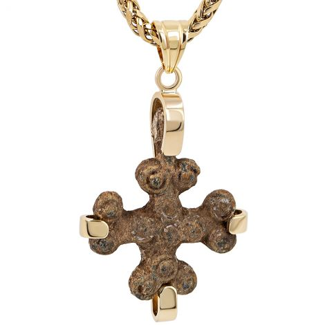 Genuine 7th Century A.D Byzantine Bronze Cross in 14k Gold Pendant