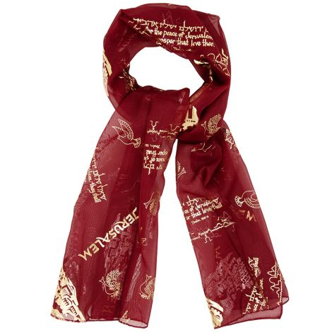 'Pray for the Peace of Jerusalem' - Hebrew Scripture Scarf - Burgundy