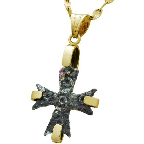Authentic Bronze Byzantine Cross in a 14k Gold Frame Pendant