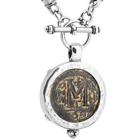 Byzantine Justinian Coin 6th Century in Silver Necklace - Made in Israel