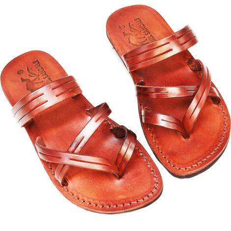 'Capernaum' Leather Jesus Sandals - Made in Israel - Camel Leather