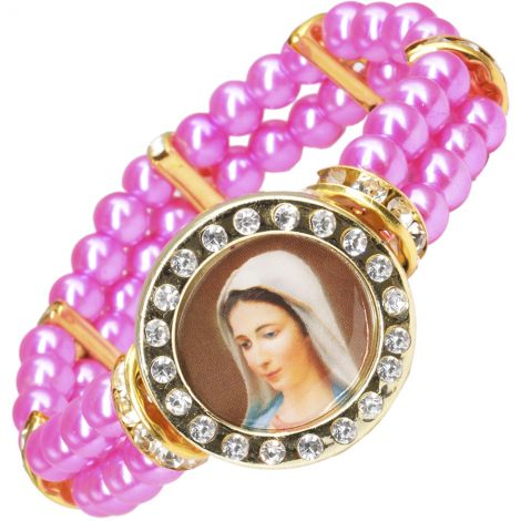 Catholic 'Virgin Mary' Fashion Pink Pearl Bracelet - Made in Jerusalem