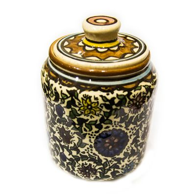 Armenian Hand Painted Brown Ceramic Sugar Jar - Flowers
