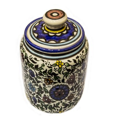 Armenian Ceramic Sugar Jar - Floral Holy Land