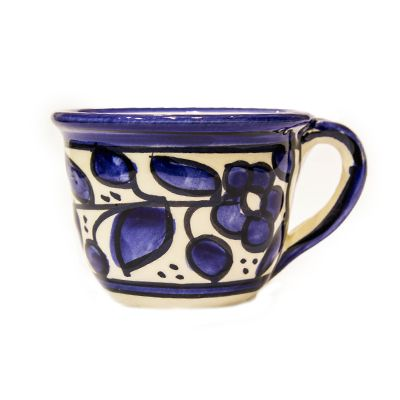 Armenian Ceramic 'Floral' Coffee Cup (Blue and White)