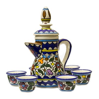 Armenian Ceramic Coffee Set - Floral - Made in the Holy Land