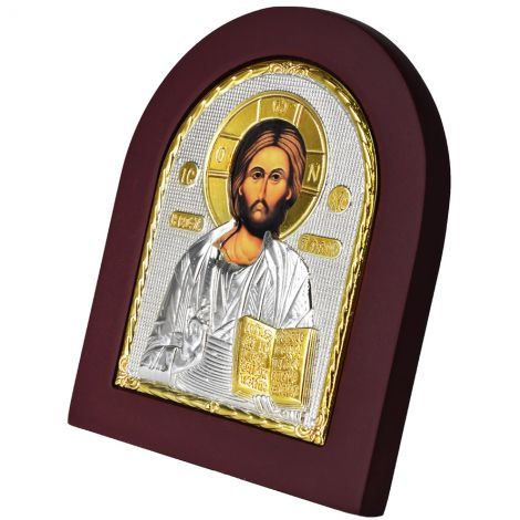Christ Pantocrator Icon with Stand - Silver and Gold Plated