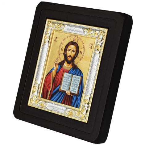 Christ Pantocrator Replica Byzantine Icon - Silver Plated