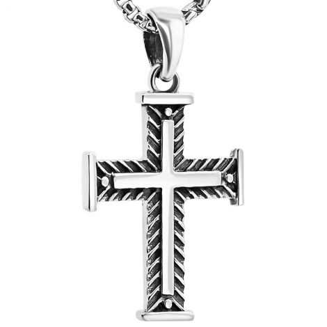 Sterling Silver Christian Cross Necklace with Fishbone Design - 1""