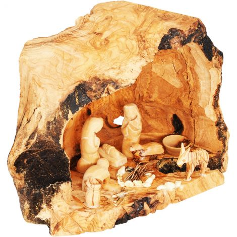 "Olive Wood Christmas Nativity Cave Fixed Figurines - 9"" (side view)"