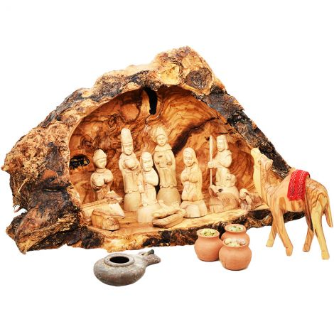 Nativity Set in Olive Wood Cave with a Camel, Lamp + Wise Men Gifts (front view)